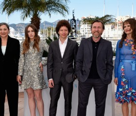 Robin Bartlett and Sarah Sutherland, director Michel Franco and actors Tim Roth and Nailea Norvind