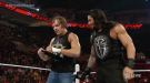 "Dean Ambrose with Roman Reigns during ""Monday Night Raw."""
