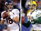 Quarterbacks Aaron Rodgers and Peyton Manning
