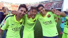 Barcelona Players Lionel Messi, Luis Suarez and Neymar