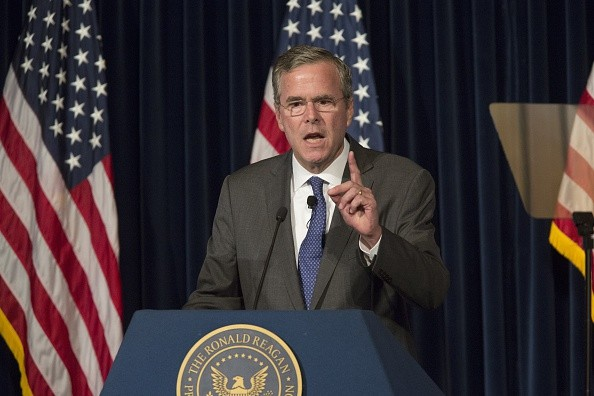 Republican presidential hopeful and former Florida Gov. Jeb Bush delivers a foreign policy address at the Ronald Reagan Presidential Library on August 11, 2015 in Simi Valley, California.
