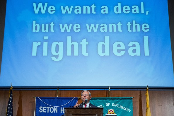U.S. Senator Bob Menendez, D-N.J., gives a speech announcing he will not support President Obama's Iran nuclear deal at Seton Hall University on August 18, 2015.