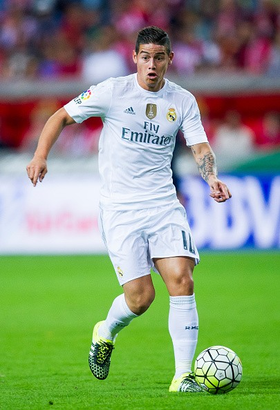 James Rodriguez of Real Madrid controls the ball during the La Liga ...