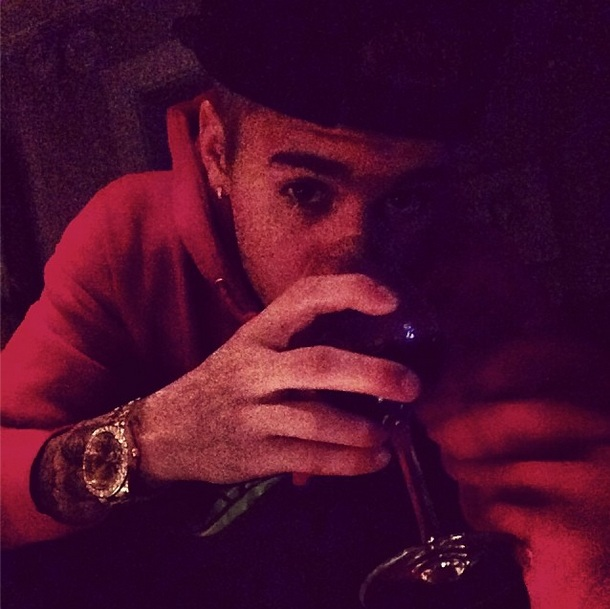 "Justin's Instagram photo captioned, ""Classy night #painting"""