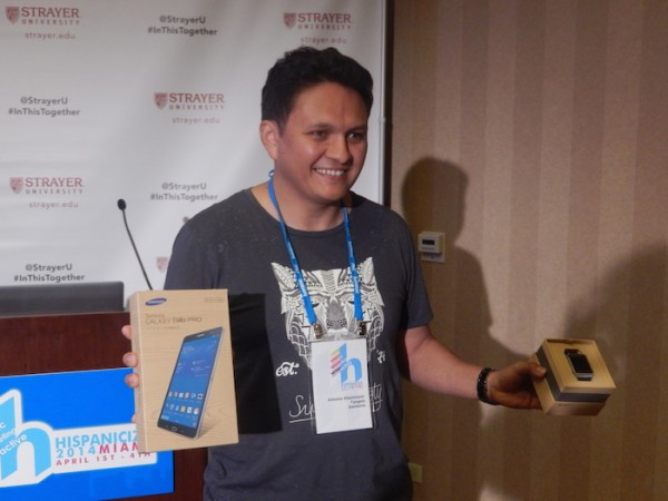 Antonio Altamirano with his grand prize gadgets at Hispanicize 2014 Latino Startup of the Year finals. (LatinPost: Keerthi Chandrashekar)