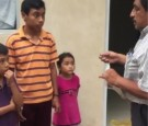 The moment homeless siblings received a home was caught on video.