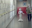 Pepper, a robot designed by Zora Robots, works as a receptionist at a hospital in Belgium.