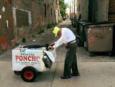Fedencio Sanchez pushing his popsicle cart in Chicago