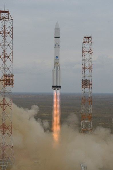 In this handout photo provided by the European Space Agency (ESA), the ExoMars 2016 lifts off on a Proton-M rocket at Baikonur cosmodrome on March 14, 2016 in Baikonur, Kazakhstan.