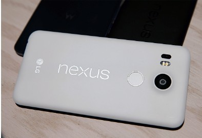 The new Nexus 5X phone is displayed during a Google media event on September 29, 2015 in San Francisco, California.
