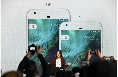 Sabrina Ellis, director of product management for Google Inc., discusses the Google Pixel and Pixel XL smartphones in Google product launch event in San Francisco, California, U.S.,  Oct. 4, 2016.