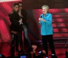 Jennifer Lopez, Marc Anthony and Hillary Clinton are seen at the Jennifer Lopez Gets Loud for Hillary Clinton on October 29, 2016 in Miami, Florida