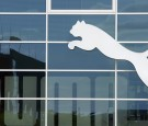 The logo of German sporting goods company Puma is pictured ahead the shareholders meeting on May 6, 2015 in Herzogenaurach, southern Germany.