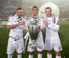 Karim Benzema, Cristiano Ronaldo and Gareth Bale of Real Madrid CF during Real Madrid CF team celebration at Santiago Bernabeu Stadium.