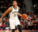 Rashad Vaughn of the Milwaukee Bucks drives to the basket against the Detroit Pistons on October 30, 2016