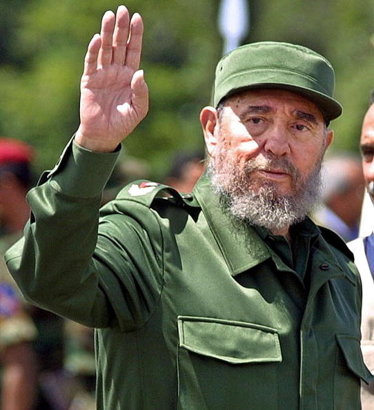 SANTA ELENA DE UAIREN, VENEZUELA: Cuban President Fidel Castro arrives in Santa Elena de Uairen, Venezuela, 950kms (590 miles) south of Caracas, 13 August 2001. Castro attended a ceremony where Brazilian President Fernando Henrique Cardoso and his Venezue