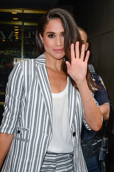 Actress Meghan Markle leaves the 'Today Show' taping at NBC Rockefeller Center Studios on July 14, 2016 in New York City.