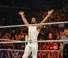 Seth Rollins enters the ring at the WWE SummerSlam 2015 at Barclays Center of Brooklyn on August 23, 2015 in New York City