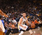 Stephen Curry #30 of the Golden State Warriors handles the ball against the New York Knicks on December 15, 2016 at ORACLE Arena in Oakland, California