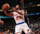 Derrick Rose #25 of the New York Knicks goes up for a lay up during a game against the Phoenix Suns on December 13, 2016 at Talking Stick Resort Arena in Phoenix, Arizona.