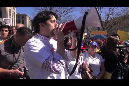 Rodrigo Diamanti at a Protest