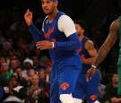 Carmelo Anthony #7 of the New York Knicks reacts after hitting a three pointer against the Boston Celtics at Madison Square Garden on December 25, 2016 in New York City.