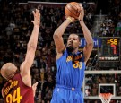 Kevin Durant #35 of the Golden State Warriors shoots the ball against the Cleveland Cavaliers during the game on December 25, 2016 at Quicken Loans Arena in Cleveland, Ohio.