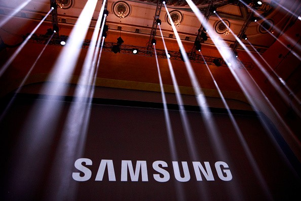 The Samsung logo is displayed on a screen prior to the start of a launch event for the Samsung Galaxy Note 7 at the Hammerstein Ballroom, August 2, 2016 in New York City