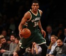 Giannis Antetokounmpo #34 of the Milwaukee Bucks in action against the Brooklyn Nets during their game at Barclays Center on December 1, 2016 in New York City