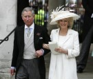 Prince Charles, the Prince of Wales, and his wife Camilla, the Duchess of Cornwall, depart the Civil Ceremony where they were legally married, at The Guildhall, Windsor on April 9, 2005 in Berkshire,