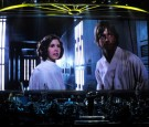 Actress Carrie Fisher's Princess Leia Organa character and actor Mark Hamill's Luke Skywalker character from 'Star Wars Episode IV: A New Hope'