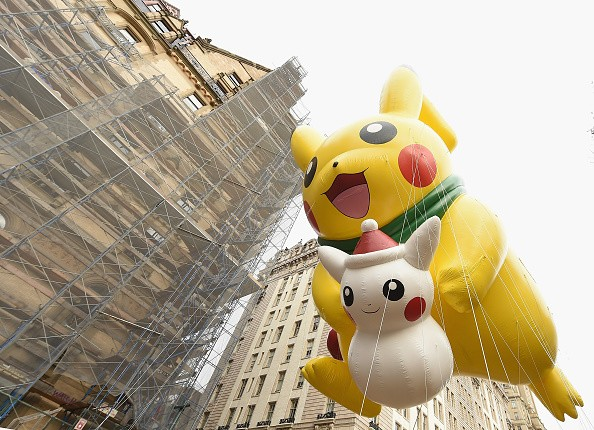 The Pikachu from Pokemon balloon floats through the 90th Annual Macy's Thanksgiving Day Parade on November 24, 2016 in New York City.