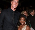 Olympic athletes Conor Dwyer (L) and Simone Biles attend The Weinstein Company and Netflix Golden Globe Party.