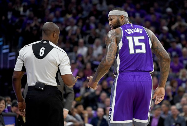 Demarcus Cousins earns his 10th technical of the season after punching a chair on the Kings' bench after being called for a loose-ball foul.