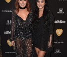 Actors Ashley Tisdale and Vanessa Hudgens attend the Guitar Hero Live Launch Party at YouTube Space LA on October 19, 2015 in Los Angeles, California.