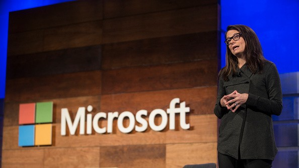 Microsoft Executive Vice President and CFO Amy Hood addresses shareholders during the 2016 Microsoft Annual Shareholders Meeting.