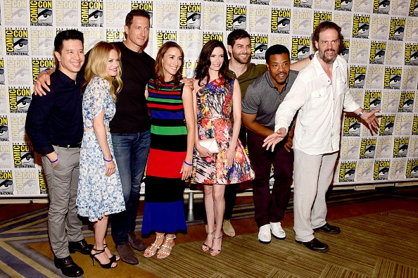 Actors Reggie Lee, Claire Coffee, Sasha Roiz, Bree Turner, lizabeth Tulloch, David Giuntoli, Russell Hornsby and Silas Weir Mitchell attends the 'Grimm' press line during Comic-Con International on July 23, 2016 in San Diego, California.