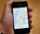 The Google Maps app is seen on an Apple iPhone 4S on December 13, 2012 in Fairfax, California.