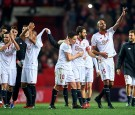 (L-R) Pablo Sarabia, Mariano Ferreira, Samir Nasri, Nicolas Pareja, Steven N'Zonzi of Sevilla FC celebrates after winning the match against Real Madrid CF