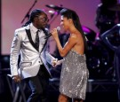 Singer Will.I.Am (L) and Nicole Scherzinger perform during the 2007 American Music Awards held at the Nokia Theatre L.A. LIVE on November 18, 2007 in Los Angeles, California.