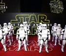 Stormtroopers arrive for the European Premiere of 'Star Wars: The Force Awakens' at Leicester Square on December 16, 2015 in London, England.
