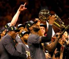 LeBron James #23 of the Cleveland Cavaliers holds the Larry O'Brien Championship Trophy after defeating the Golden State Warriors 93-89 in Game 7 of the 2016 NBA Finals at ORACLE Arena on June 19,2016