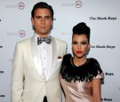 Television personalities Scott Disick (L) and Kourtney Kardashian arrive at the launch of AG Adriano Goldschmied's 'backstAGe presents:' initiative featuring The Black Keys at the Marquee Nightclub