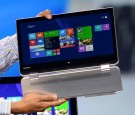 A Lenovo 2-in-1 laptop and tablet is displayed during a keynote address by Intel Corp.