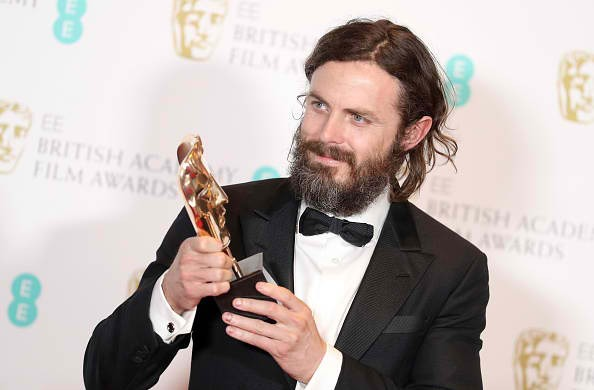 Casey Affleck with his Best Actor award for 'Manchester by the Sea' during the 70th EE British Academy Film Awards (BAFTA) at Royal Albert Hall on February 12, 2017 in London, England.