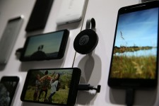 The new Google Chromecast is displayed next to Nexus phones during a Google media event on September 29, 2015 in San Francisco, California.