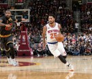 Derrick Rose #25 of the New York Knicks handles the ball against the Cleveland Cavaliers during a game on October 25, 2016 at Quicken Loans Arena in Cleveland, Ohio.
