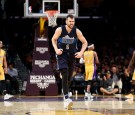 Andrew Bogut #6 of the Dallas Mavericks reacts to scoring during the second half of a game against the Los Angeles Lakers at Staples Center on November 8, 2016 in Los Angeles, California.