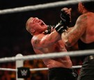 Brock Lesnar and The Undertaker battle it out at the WWE SummerSlam 2015 at Barclays Center of Brooklyn on August 23, 2015 in New York City.