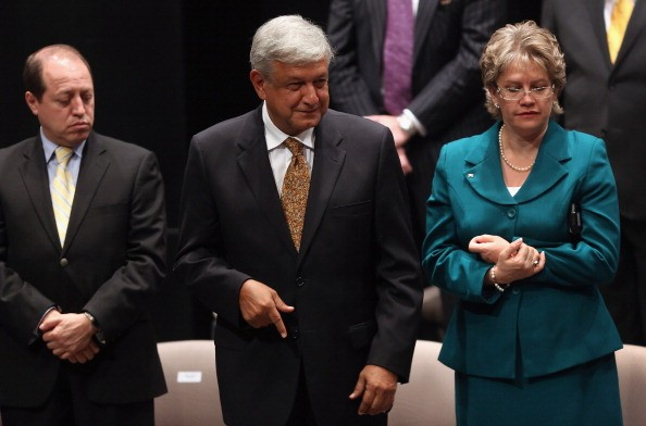 JUNE 28: Andres Manuel Lopez Obrador, the presidential candidate the of the leftist Party of Democratic Revolution (PRD), prepares to sign a 'civility accord' on June 28, 2012 in Mexico City, Mexico. Mexico's four presidential candidates gathered at the c